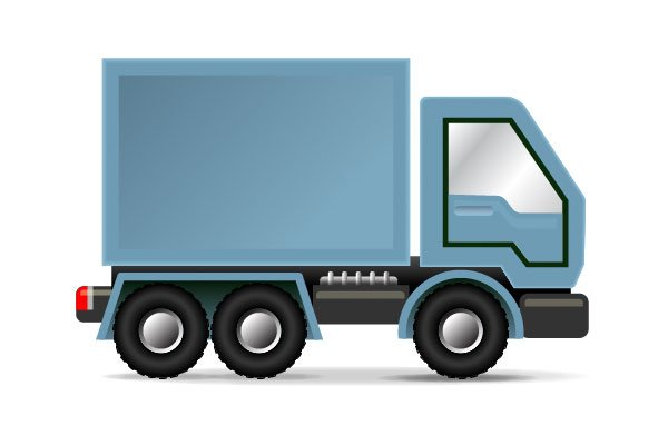A blue delivery truck