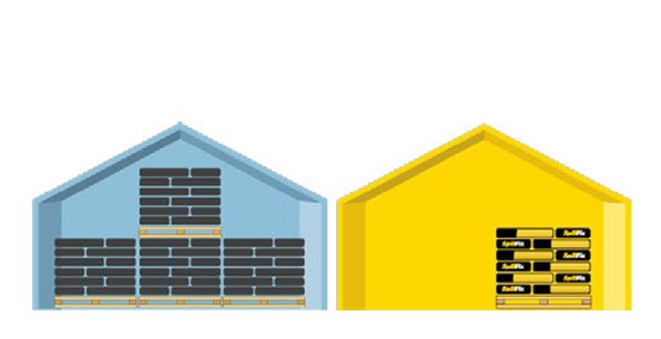 A blue house and yellow house