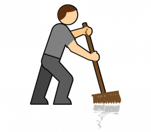 A man sweeping