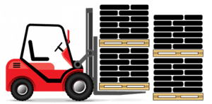 A red forklift