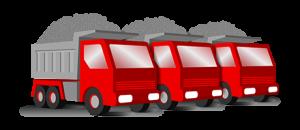 Three red rump trucks