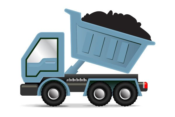 A dump truck hauling away waste materials