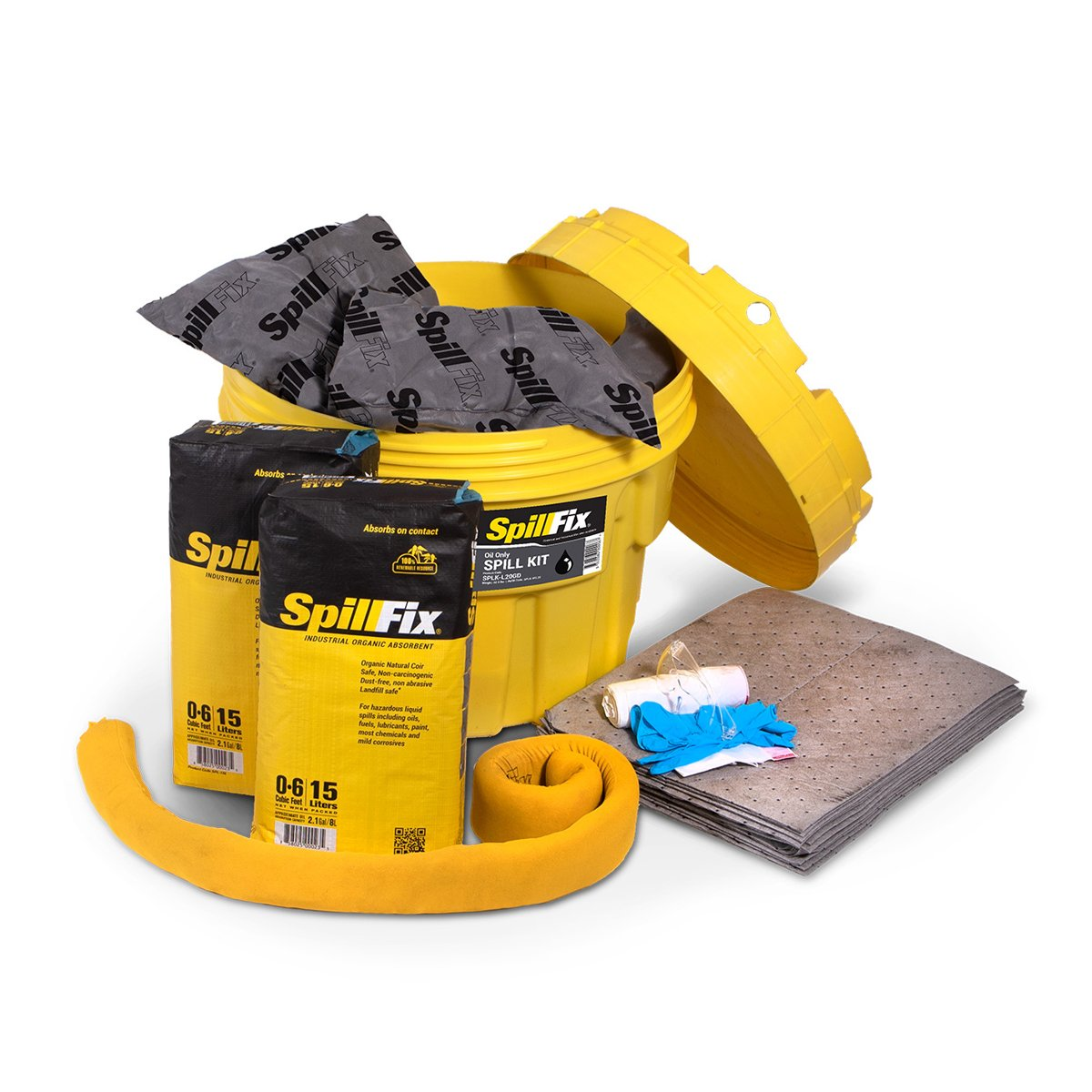 SpillFix Oil-Only Spill Kit in 20 Gallon Overpack Salvage Drum