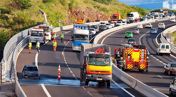 Massive spill on the highway being cleaned by SpillFix